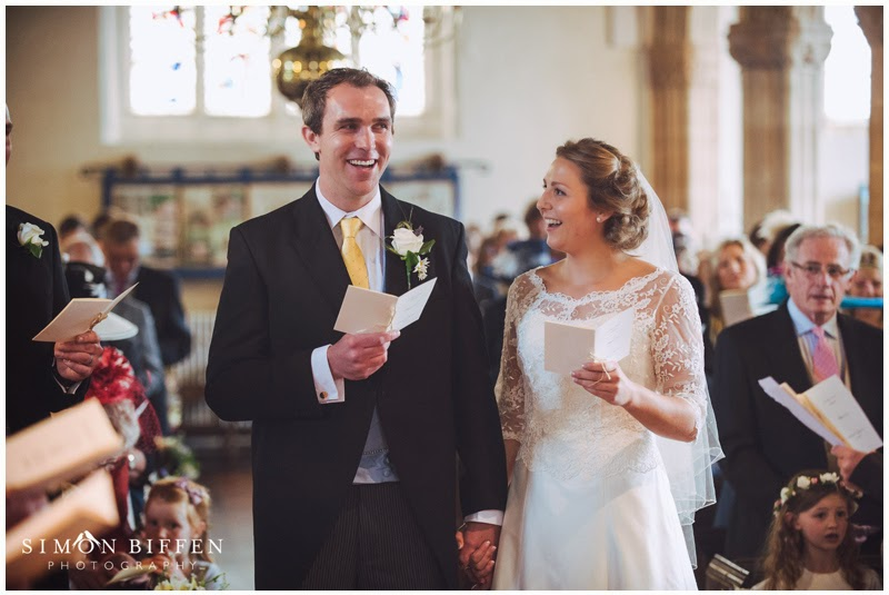 A happy moment during the wedding ceremony at Stogumber Church