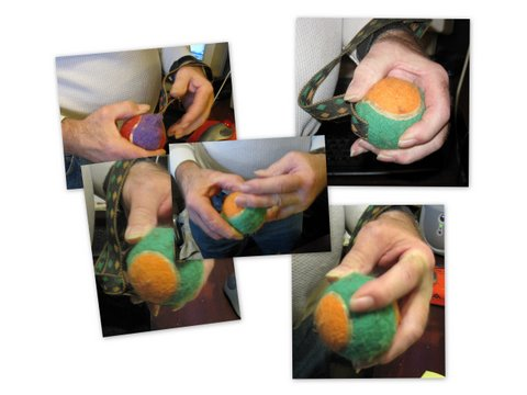 For a simple hand stretching exercise try the tennis ball between the