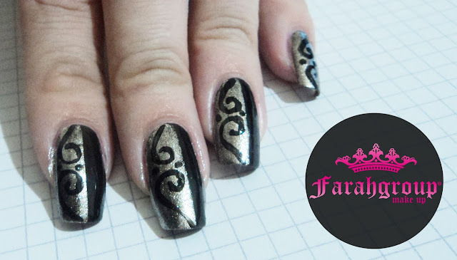 black and gold, negro y dorado, nail art