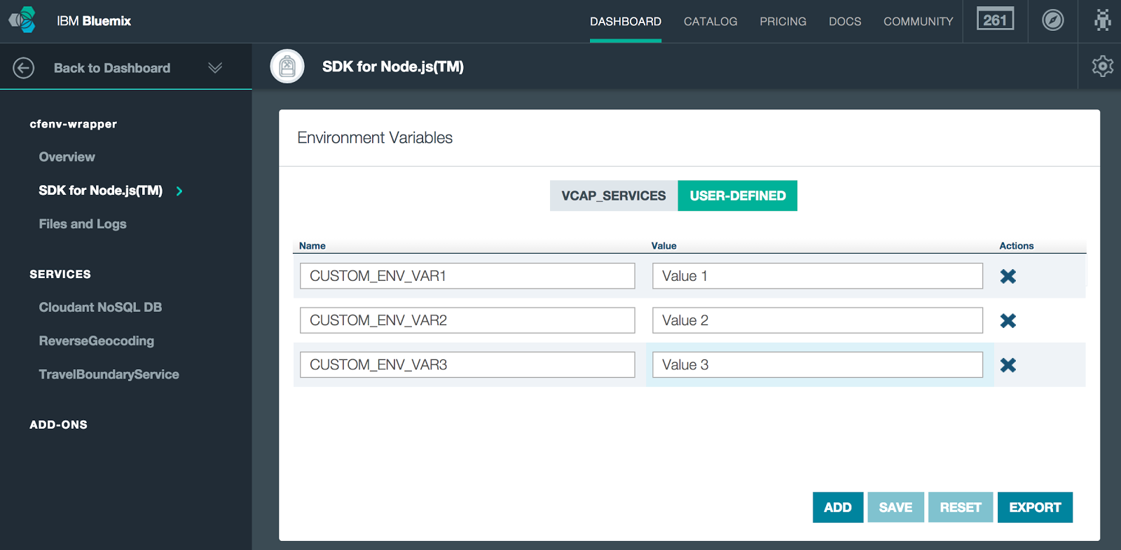 Bluemix UI: Environment Variables for cfenv-wrapper