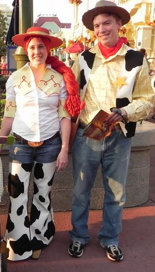 Jessie and Woody Costumes Homemade http://jubilationstudios.blogspot.com/2011/10/toy-story-costumes-cont-jessie-chaps.html