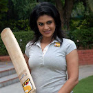 Mandira Bedi With Cricket Bat Pics