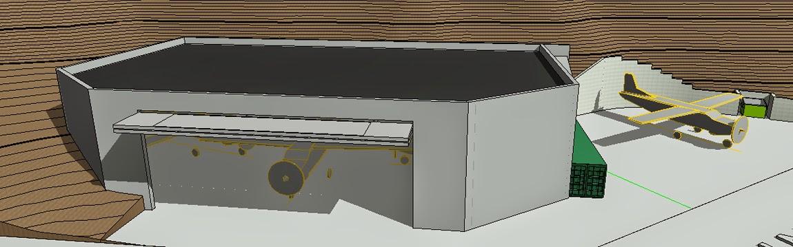 Kris Brons' rendering of an airplane hangar.