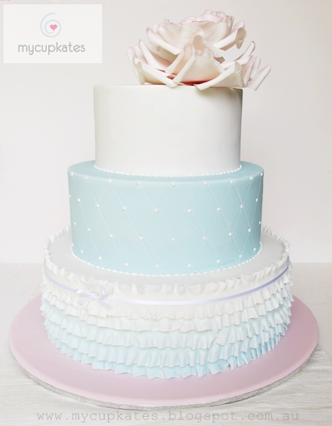MyCupKates Cakes Cupcakes Cookies 3 Tiered Wedding Cake In Soft Pas