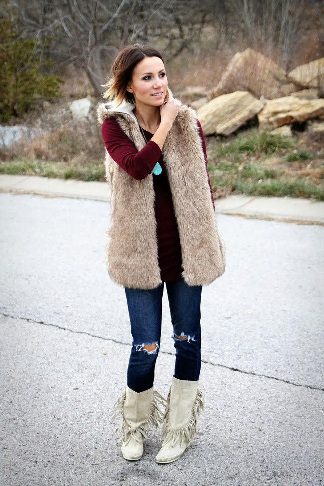Pair a jewel toned top, turquoise jewelry and fur for a great winter statement