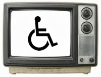 Old TV set with wheelchair icon on the screen