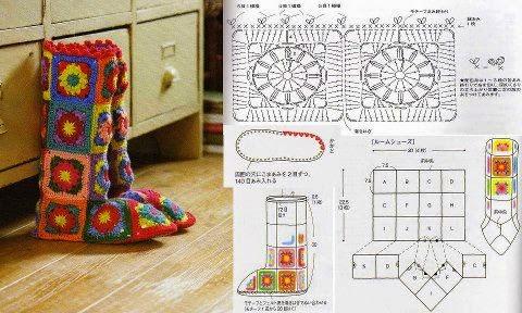 Lana e cotone maglia e uncinetto presine quadrate