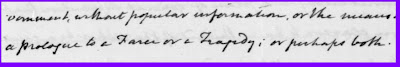 image of Madison's handwriting including a Farce or a Tragedy