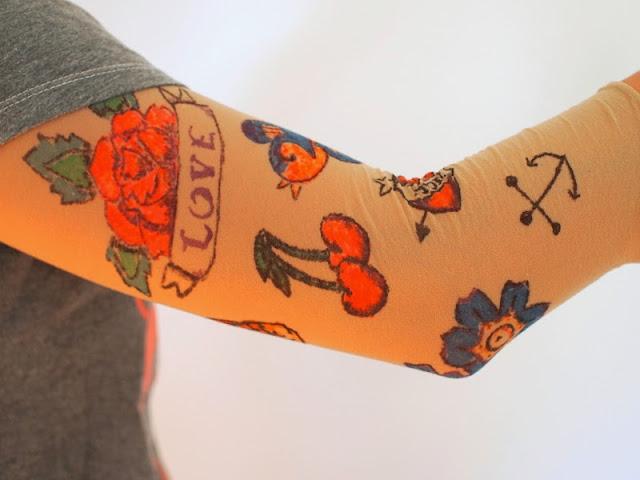 diy fake sleeve tattoo pink stripey socks. Black Bedroom Furniture Sets. Home Design Ideas