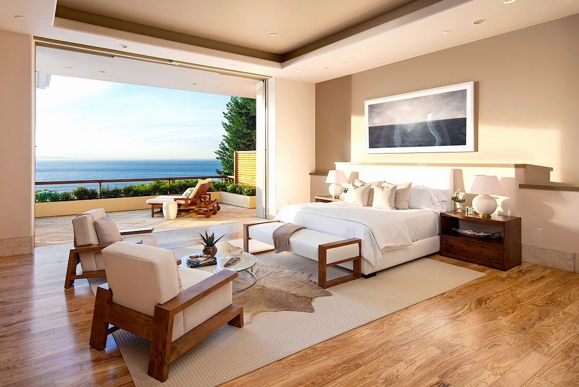 Bedroom in multi million dollar beach house with an ocean view