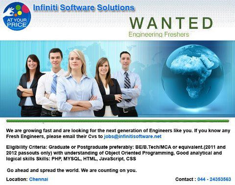 Wanted PHP Fresher in Chennai