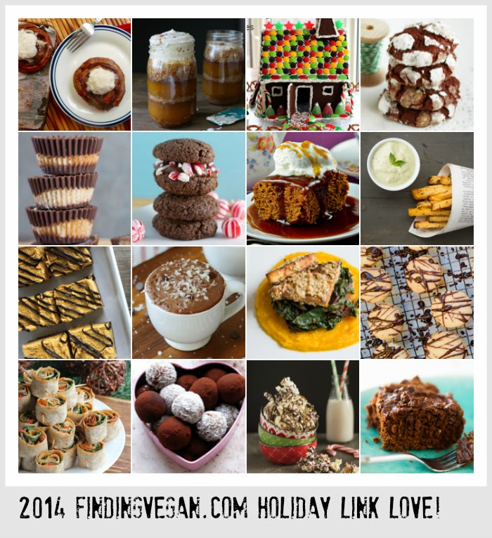 50+ amazing vegan holiday recipes and links from the best Finding Vegan bloggers! From Vegan Egg Nog to Vegan Gingerbread Houses to Chocolate Macarons and more, these links will have you ogling and eager to get in the kitchen!