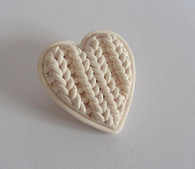 knithacker claire wallis knitted polymer clay heart love brooch