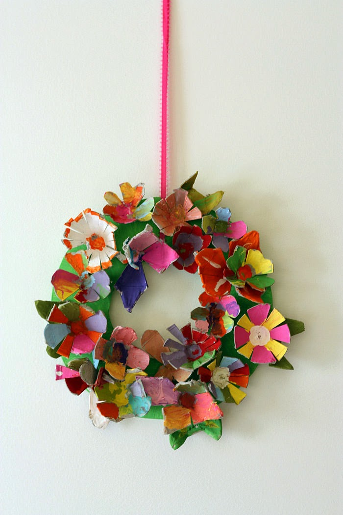 love preschool spring preschool crafts egg carton flower wreath