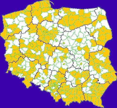Powiaty, z których otrzymałam pocztówkę