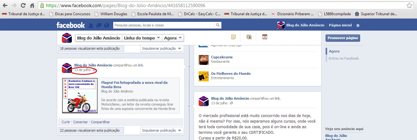 print da tela do facebook