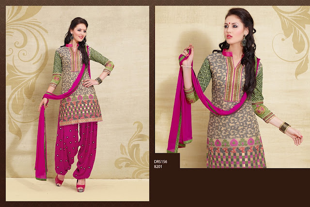 New Designer Cotton Embroidered Patiala Style Dress Material