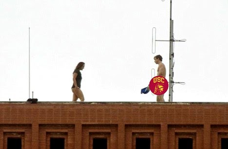 Caught having sex on the roof