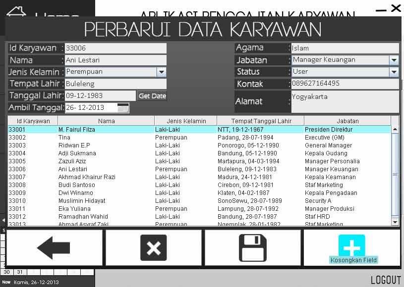 Tampilan Tambah/ Edit Data Karyawan