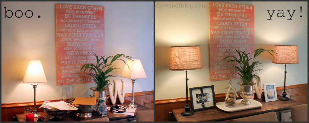 Lamps, Target, Buffet, Home Decor, Burlap, Orange Artwork, Family Rules
