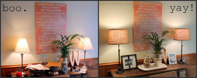 lamps, target, buffet, home decor, burlap, orange artwork, family rules, subway art, houseplant, champagne bucket