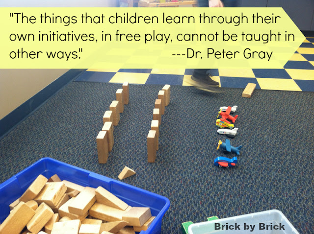 Peter Gray quote on play (Brick by Brick)