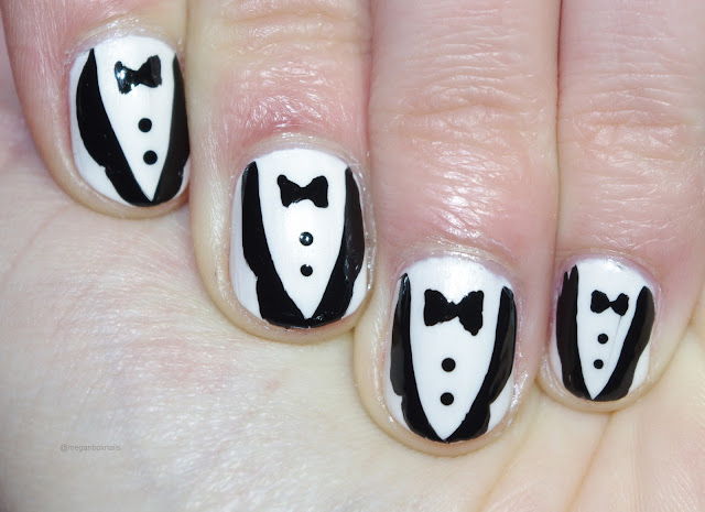 suit and tie black and white nails image