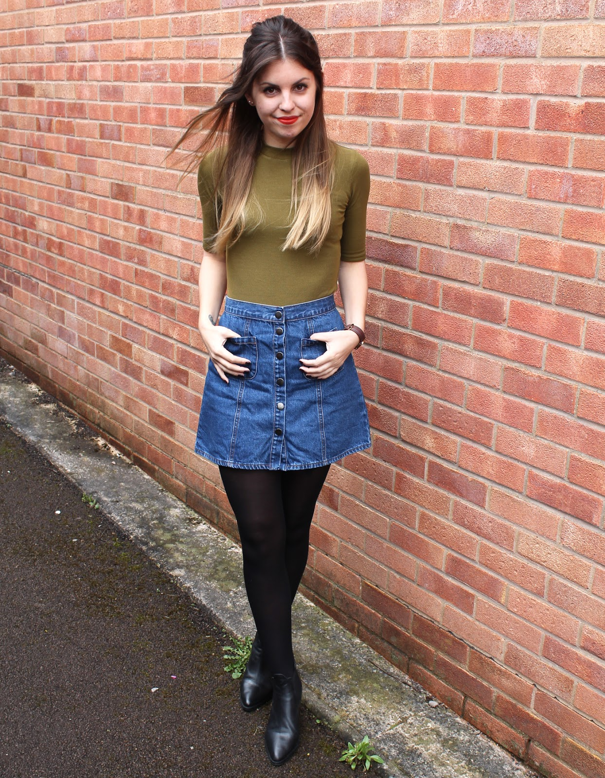 Sweet Monday, Sweet Monday blog, Outfit, Topshop Margot leather boots, Urban Outfitters a line denim skirt