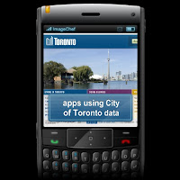 BlackBerry with apps from City of Toronto data listed on screen