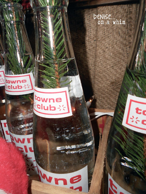 Vintage Soda Bottles with Pine Sprigs via http://deniseonawhim.blogspot.com