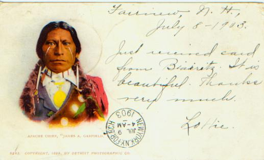Native american postcards christmas 2012 eileen sends a vintage card of a jicarilla apache man known as james a garfield printed by detroit photographic co in 1899 and mailed to london in 1903 m4hsunfo