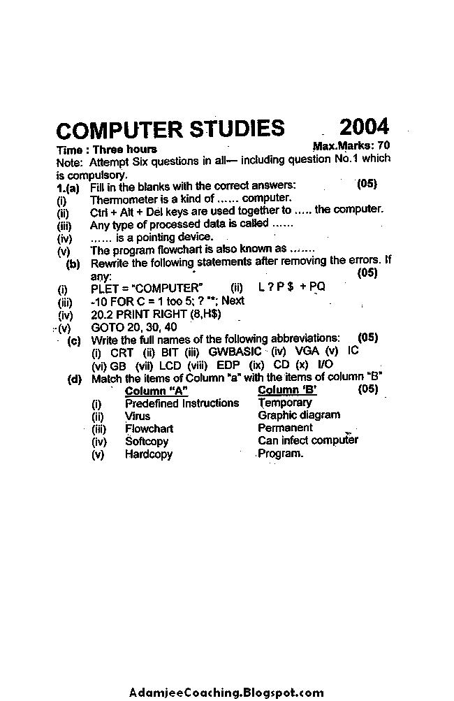 Computer Studies Past Year Paper 2004