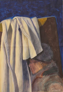 akrüülmaal, acrylic painting, fine art, cloth folds, riide kanga voldid, Keiu Kuresaar