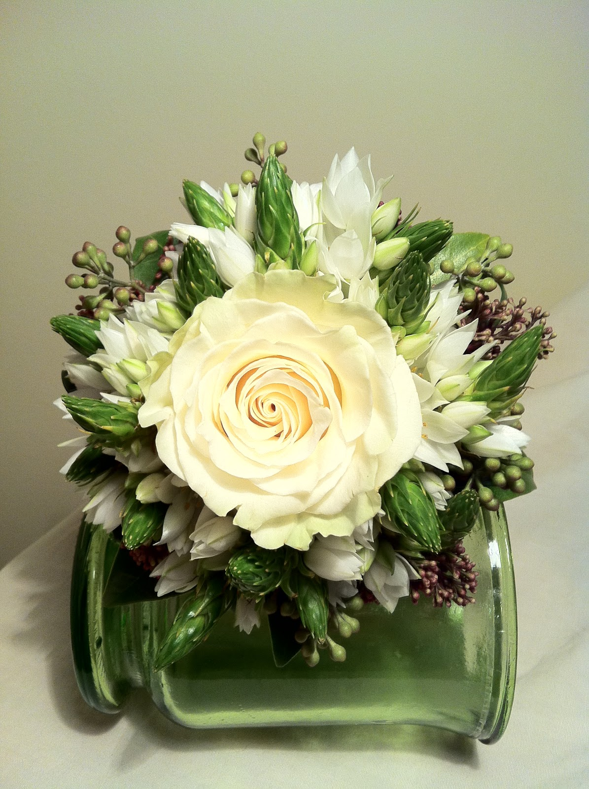 Mini Wedding Bouquet With One White Rose And Multipruposed