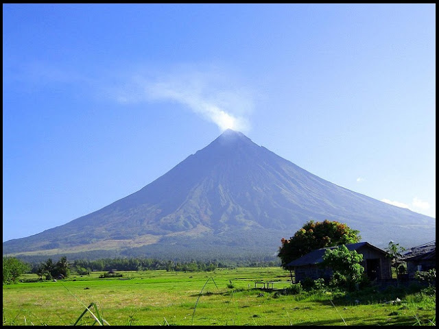 Mayon Volcano with its perfect cone-shape