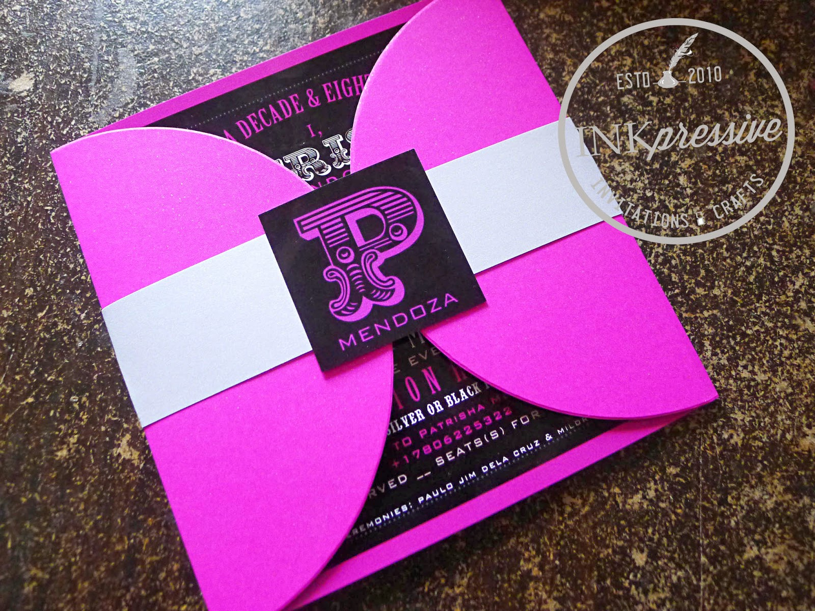 Debut invitation hot pink and black half petal envelope party handmade invitation stopboris Image collections