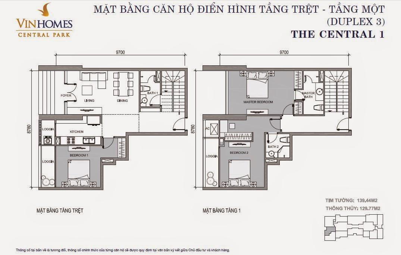 Căn hộ Vinhomes Central Park 1 - căn hộ Duplex số 03, tầng 1