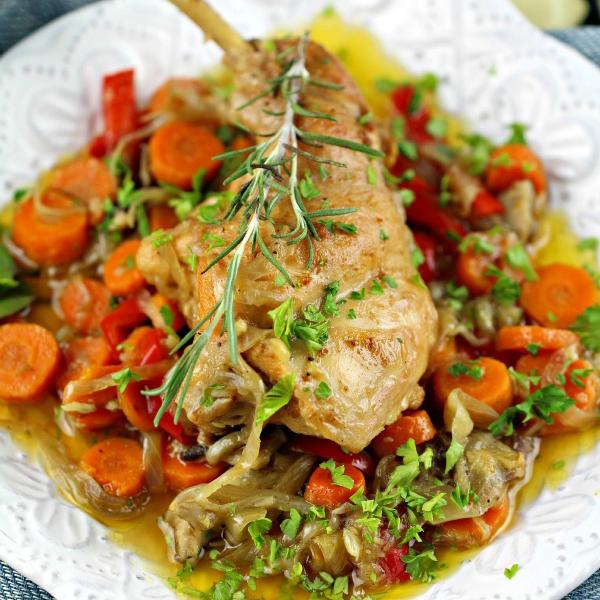 Rabbit and Vegetable Bake by Peas & Peonies