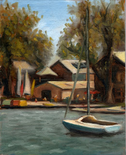 Oil painting of a small yacht on a lake with distant trees and buildings.
