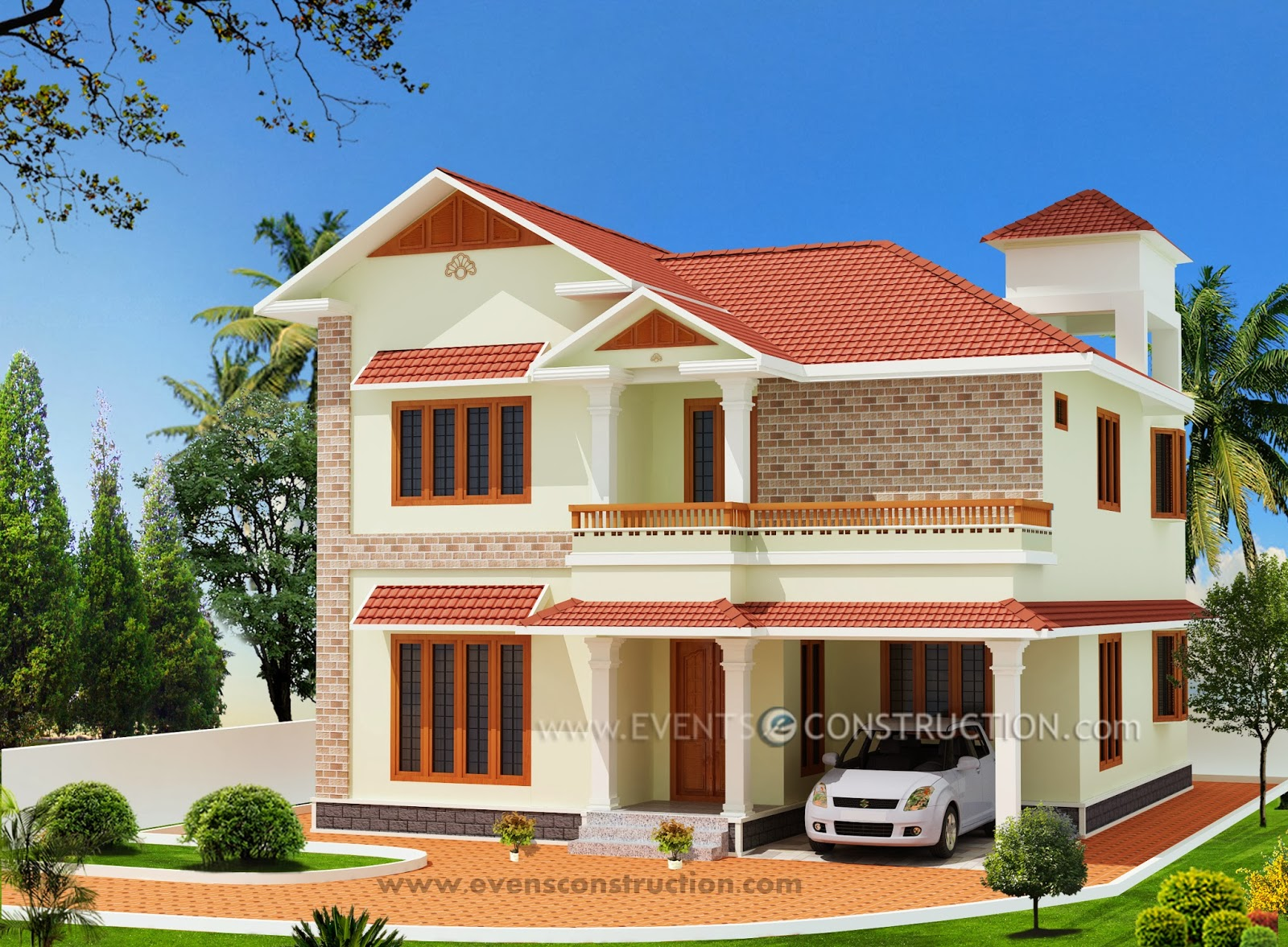 New Kerala House Samples 2013 3d Elevations Garden