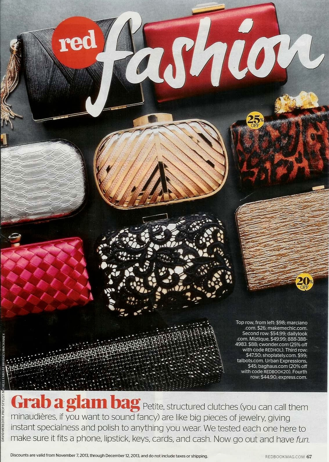 Express clutch in Redbook, magazine, purse, sequin clutch