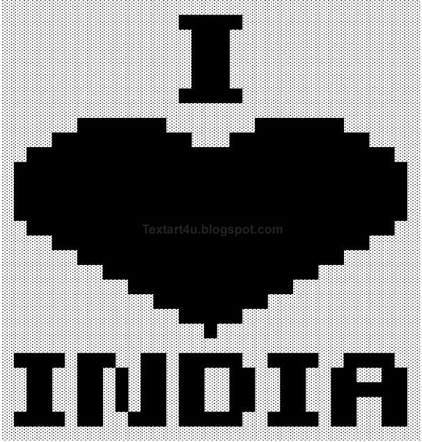 i love india text art for facebook
