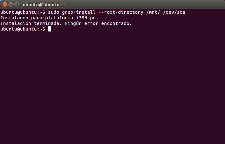 sudo grub-install --root-directory=/mnt/ /dev/sda