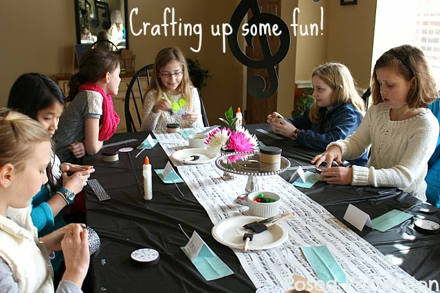 Music-themed crafts for tween birthday party