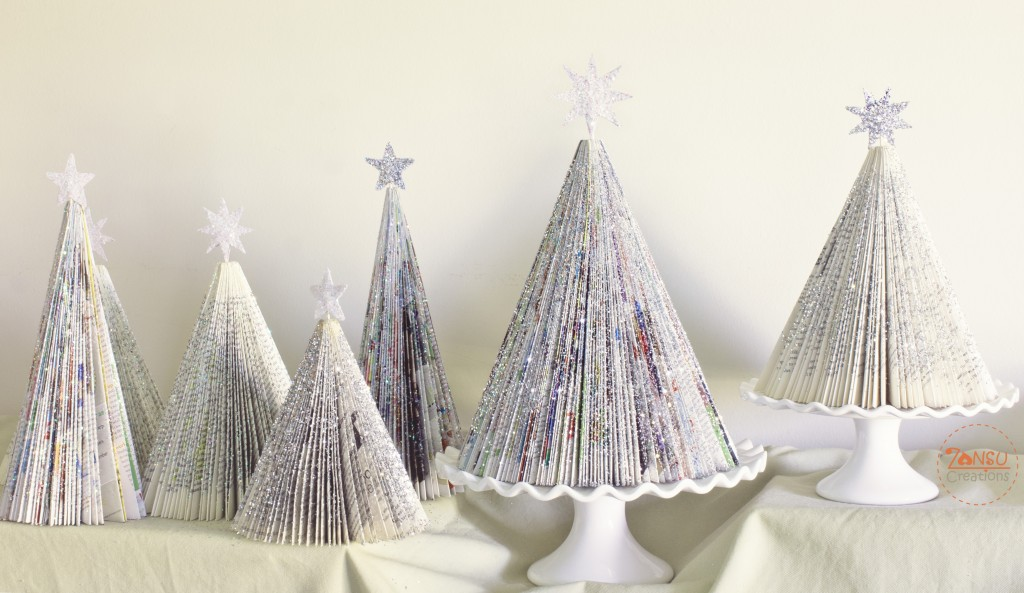 http://www.zansucreations.com/2013/11/28/diy-magazine-christmas-trees/