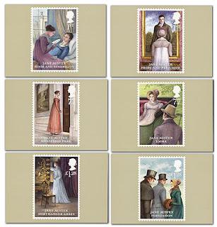 cartão postal jane austen selos bicentenário
