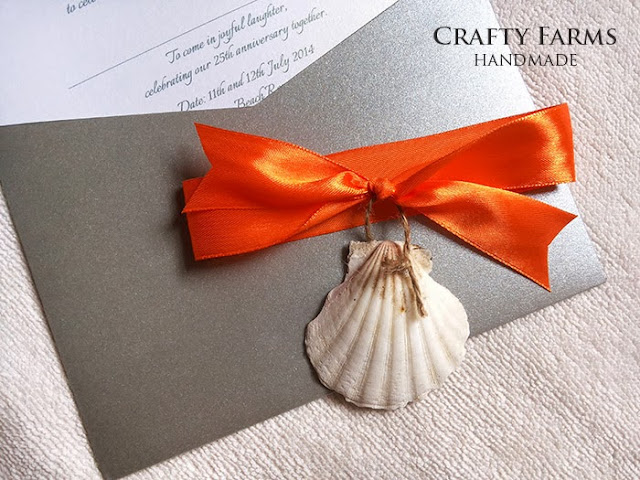 Wedding Anniversary Beach Theme Invitation Card with Seashell