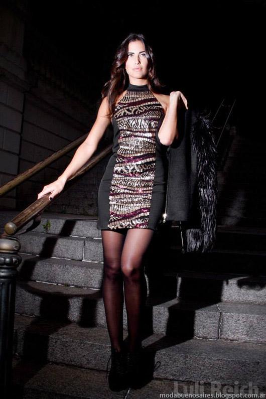 Vestidos corto de fiesta invierno 2014-Moda invierno 2014 colección Luli Reich.