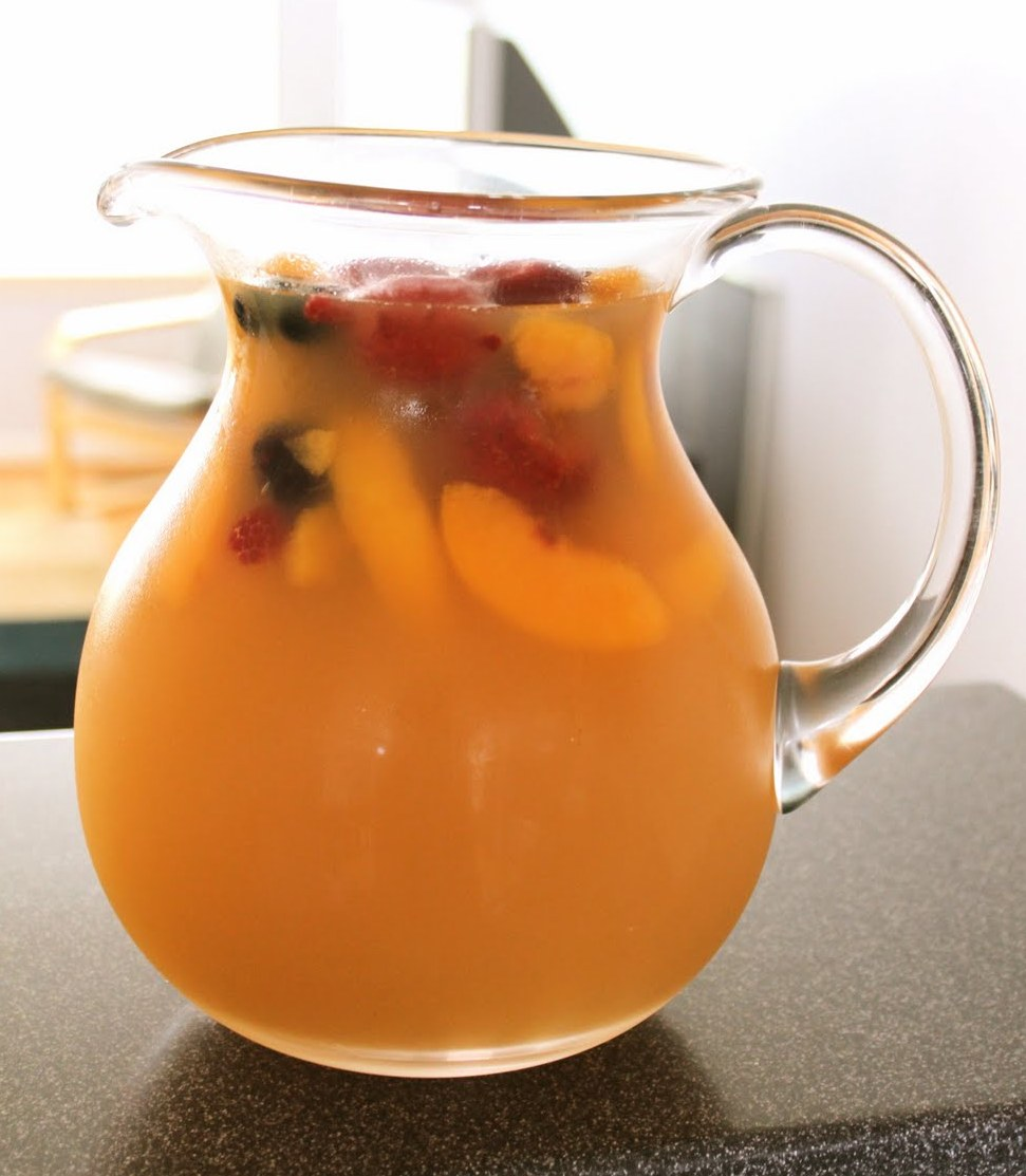 Note: My sangria was not quite so peach-colored. I used white peaches ...