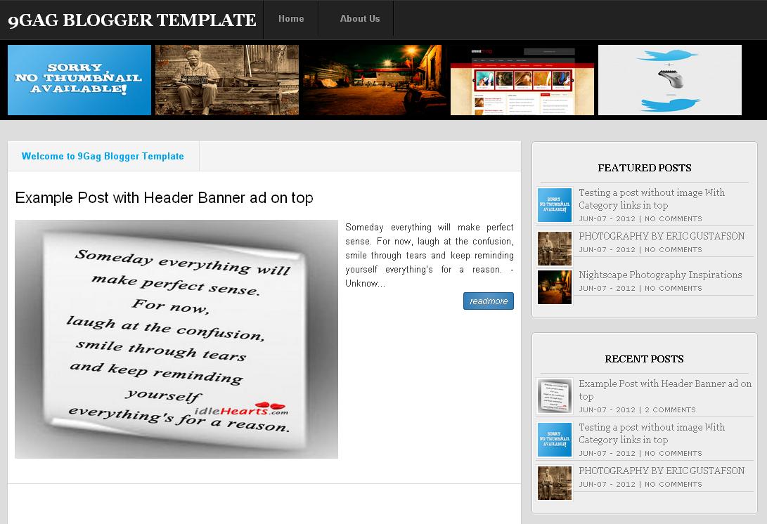 Stylish Templates 4u: 9Gag Clone Blogger Template